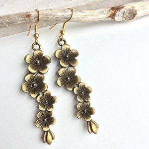 Brass Flowers long row Earrings